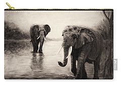 Carry-all Pouch featuring the painting African Elephants At Sunset by Sher Nasser
