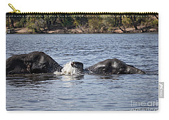 African Elephants Swimming In The Chobe River Botswana Carry-all Pouch