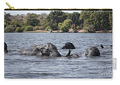 Carry-all Pouch featuring the photograph African Elephants Swimming In The Chobe River by Liz Leyden