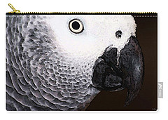 African Gray Parrot Art - Seeing Is Believing Carry-all Pouch by Sharon Cummings