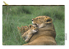 African Lions Mother And Cubs Tanzania Carry-all Pouch