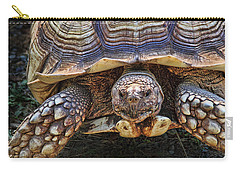 Carry-all Pouch featuring the photograph African Spurred Tortoise by Peggy Collins