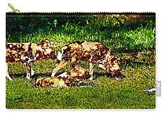 African Wild Dog Family Carry-all Pouch by Miroslava Jurcik