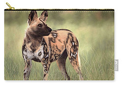 African Wild Dog Painting Carry-all Pouch by Rachel Stribbling