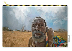 Carry-all Pouch featuring the mixed media Afrikan Bushman by Vannetta Ferguson