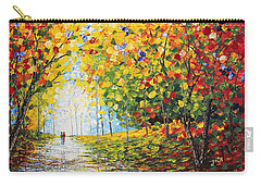 Carry-all Pouch featuring the painting After Rain Autumn Reflections Acrylic Palette Knife Painting by Georgeta Blanaru