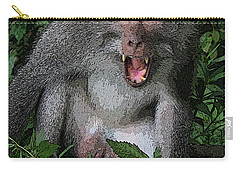 Carry-all Pouch featuring the photograph  Aggressive Monkey From Bali by Sergey Lukashin