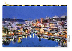Painting Of Agios Nikolaos City Carry-all Pouch