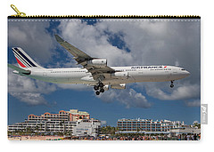 Air France Landing At St. Maarten Carry-all Pouch by David Gleeson