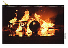 Carry-all Pouch featuring the photograph Airforce Fire Deparment Training by Aaron Martens