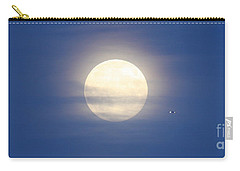 Airplane Flying Into Full Moon Carry-all Pouch