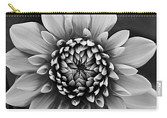 Ala Mode Dahlia In Black And White Carry-all Pouch