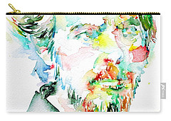 Alan Watts Watercolor Portrait Carry-all Pouch by Fabrizio Cassetta