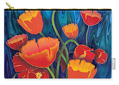 Carry-all Pouch featuring the mixed media Alaska Poppies by Teresa Ascone