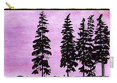 Carry-all Pouch featuring the drawing Colorful - Alaska - Sunset by D Hackett