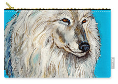 Carry-all Pouch featuring the painting Alaska White Wolf by Bob and Nadine Johnston
