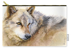 Alaskan Gray Wolf Carry-all Pouch by Bonnie Rinier
