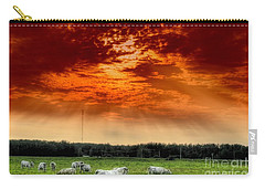 Carry-all Pouch featuring the photograph Alberta Canada Cattle Herd Hdr Sky Clouds Forest by Paul Fearn