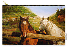 Carry-all Pouch featuring the painting Alberta Horse Farm by Sher Nasser