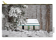 Carry-all Pouch featuring the photograph Alfred Reagan's Home In Snow by Debbie Green