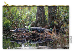 Alligator In Okefenokee Swamp Carry-all Pouch by William H. Mullins