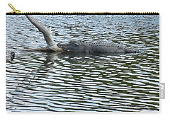 Carry-all Pouch featuring the photograph Alligator Resting On A Log by Ron Davidson