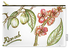Almond With Flowers Carry-all Pouch by Teresa White
