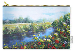 Carry-all Pouch featuring the painting Along The Poppy Valley by Vesna Martinjak