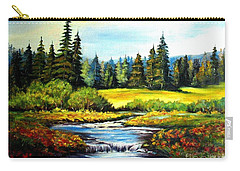 Carry-all Pouch featuring the painting Alpine Meadow by Hazel Holland