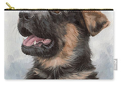 Alsatian Puppy Painting Carry-all Pouch by Rachel Stribbling