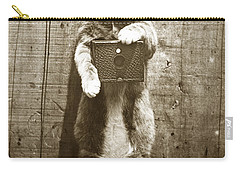 Carry-all Pouch featuring the photograph Amateur Feline Fotografer Cat With A Box Camera  Historical Photo 1900 by California Views Mr Pat Hathaway Archives