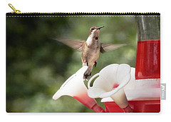 Carry-all Pouch featuring the photograph Amazing Hummingbird Frozen In Flight by Belinda Lee