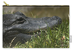 American Alligator Closeup Carry-all Pouch by David Millenheft