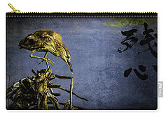 American Bittern With Brush Calligraphy Lingering Mind Carry-all Pouch