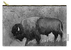 Monochrome American Buffalo 3  Carry-all Pouch by Hailey E Herrera