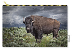 American Buffalo Or Bison In Yellowstone Carry-all Pouch
