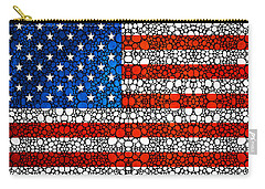 American Flag - Usa Stone Rock'd Art United States Of America Carry-all Pouch