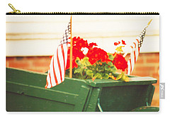 American Flags And Geraniums In A Wheelbarrow In Maine, Two Carry-all Pouch