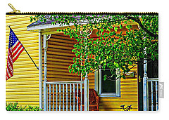 Carry-all Pouch featuring the painting American Porch In Yellow by Desiree Paquette