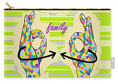 American Sign Language Family                                                    Carry-all Pouch