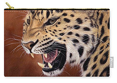 Amur Leopard Painting Carry-all Pouch by Rachel Stribbling