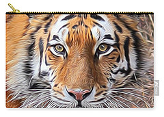 Amur Tiger Portrait Carry-all Pouch by Diane Alexander