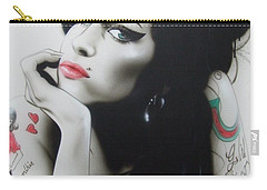 Amy Winehouse - ' Amy Your Music Will Echo Forever ' Carry-all Pouch by Christian Chapman Art