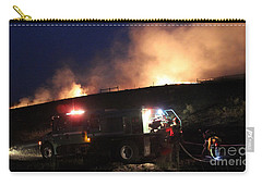Carry-all Pouch featuring the photograph An Engine Crew Works At Night On White Draw Fire by Bill Gabbert