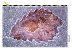 Carry-all Pouch featuring the photograph An Opening For The Frozen Leaf by Gary Slawsky