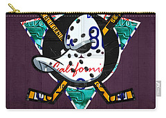 Anaheim Ducks Hockey Team Retro Logo Vintage Recycled California License Plate Art Carry-all Pouch by Design Turnpike