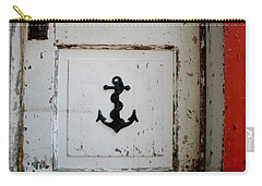 Carry-all Pouch featuring the photograph Anchor On Old Door by Kathy Barney