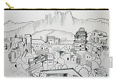 Carry-all Pouch featuring the drawing Ancient City In Pen And Ink by Janice Rae Pariza
