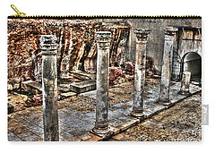 Carry-all Pouch featuring the photograph Ancient Roman Columns In Israel by Doc Braham