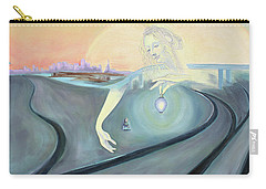 Carry-all Pouch featuring the painting Angel Bringing Light To Meditating Woman At The Train Tracks by Asha Carolyn Young